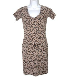Guess Blush Pink Leopard Print Bodycon Shirt Dress